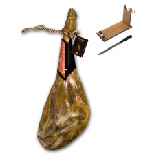 Serrano Schinken Bodega Gran Reserva Especial Revisan ganz + Schinkenhalter + Messer
